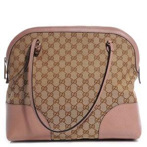 Gucci Beige/Pink GG Canvas Bree Tote Bag